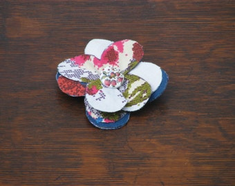 Handmade Fabric Floral Brooches