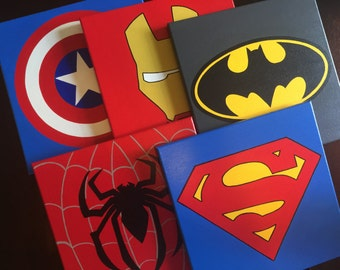 "Set of 4, 5, 6 or more 12""x12"" Superhero wall art, Superhero wall decor Hand painted canvas: Superman, Batman, Flash, Spiderman, Ironman..."