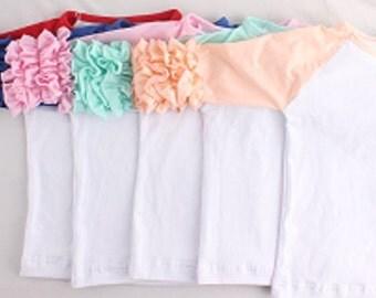 PRE-BUY Blank Wholesale Icing Ruffle Raglan Tops Ruffle Shirts Raglan Shirt Raglan Baseball Shirt Girls Ruffle Tops Icing Ruffle Leggings