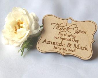 Thank you wood wedding tags, Wood tags, Gift tags, Wedding rustic, Wedding tags, Custom tags, Wooden tags, Wedding rustic, Thank you magnet