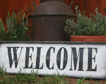 Vintage Style Hand Painted WELCOME Wood Framed Sign Wall Decor