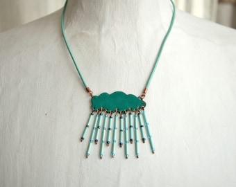 Enamel Necklace, Cloud Necklace, Summer Shower, Enamel Jewelry, Cloud Shaped, Turquoise Funny, Rain Cloud Necklace, Enamel Pendant,