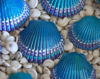 Hand painted Seashells, Mermaid Shells, Zen Seashells, Set of 13 Inspirational Seashells, Painted Shells, Seas the Day, Go Barefoot