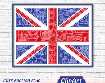 Cute ENGLISH FLAG wall art, I love London wall decor, Great Britain, England nursery art, Travel art, Union Jack art, Children's wall decor