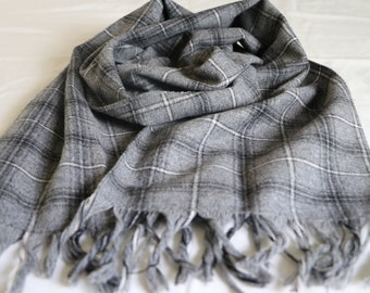 Vintage Gray plaid scarf, winter scarf, with black and white accents, gifts for her, gifts for him