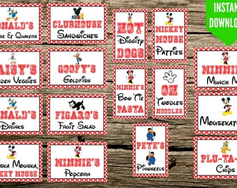 "Mickey Mouse Birthday Party Food Signs - Minnie Mouse - 4""x6"" Printable - Instant Download - Food Tags - Food Label"