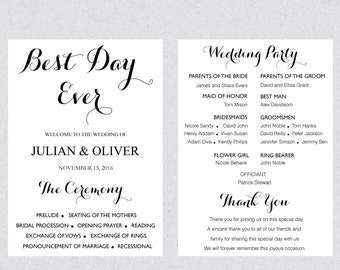 Printable Best Day Ever Wedding program fan template card , Rustic Wedding Ceremony Editable Text Instant Dowload Ms Word WPRO29