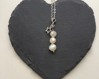 Pearl Drop Pendant Necklace with Star Charm