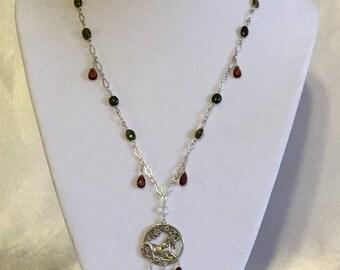Tourmaline and Garnet Unicorn necklace