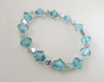 Beaded Bracelet - Pale Blue and Silver. Handmade