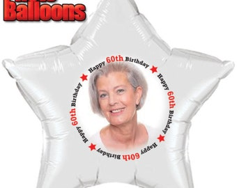 Happy BIRTHDAY PHOTO BALLOONS Ages Choose From 60th - 69th birthday Custom Printed fast shipping Party supplies