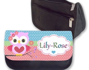 Personalised Pencil Case Owl Make Up Bag Purse