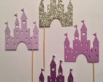 Castle Cupcake Toppers | Princess Cupcake Toppers | Birthday Cupcake Toppers | Princess Party Decorations | Glitter Castle Decorations