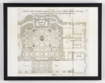 Architectural Diagram, Architectural Art, Antique Architectural, Large Antique Print, Distressed Art, Architectural Illustration, Map
