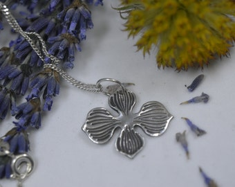Silver Necklace, Silver Pendant, Silver Petals, Flower pendant, Petal Necklace, Petal Pendant, Cross Necklace, Cross Pendant (PMC) (UK)