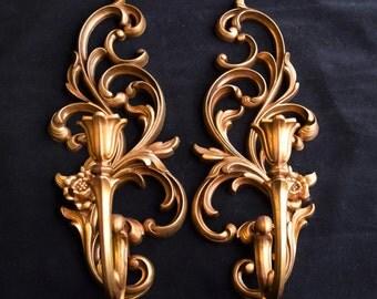 Vintage Fine Candle Holder or sconces/ Wall sconces Antique Bronze tone/ Candle Holder sconces