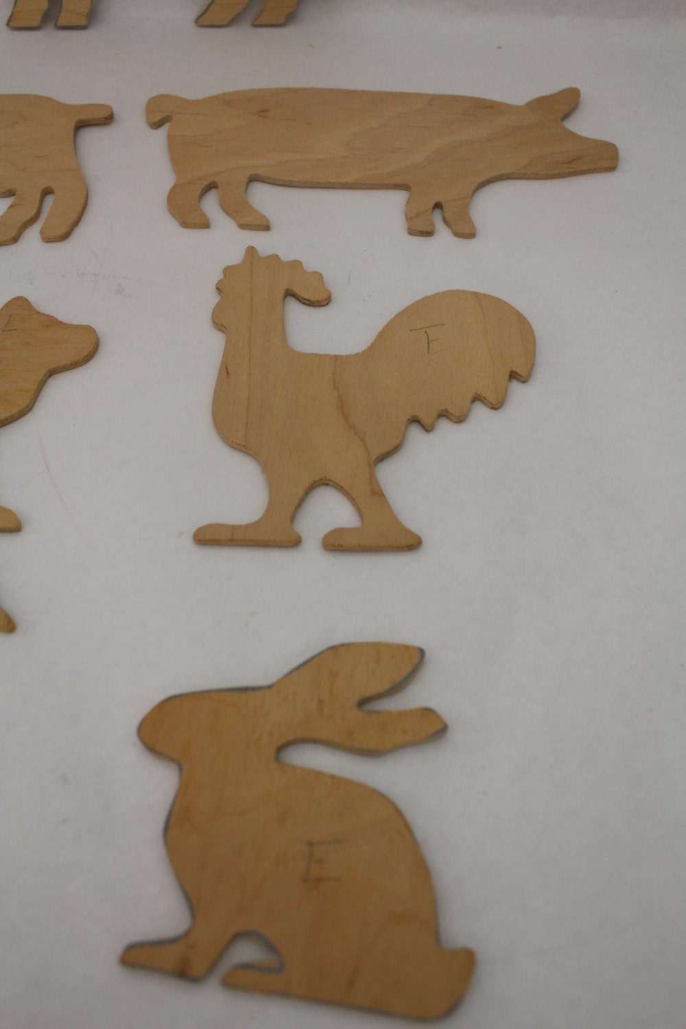 carved wood animal cut outs rare 70s large animal shapes
