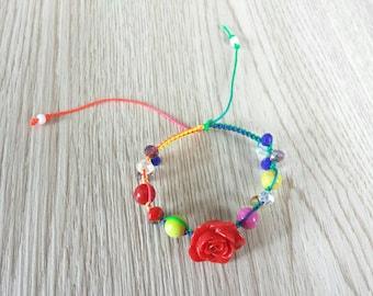 Handmade Vibrant Rose Hemp Bracelet.