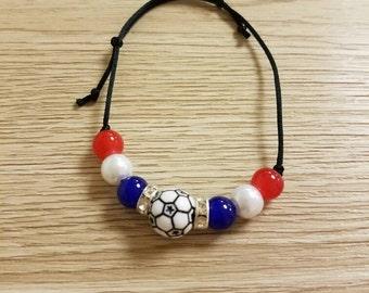 Handmade France Soccer Friendship Bracelet