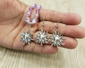 Inspired by Princess Rapunzel.  Set of Necklace and Earrings. Sun or Tower