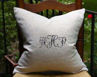 Monogrammed Linen Pillow Cover - Wedding Gift Pillow - Monogrammed