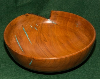 Wooden Bowl, Cherry, rustic, natural edge, turquoise inlay, handmade no.38