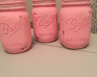 Distressed mason jars- Set of 3