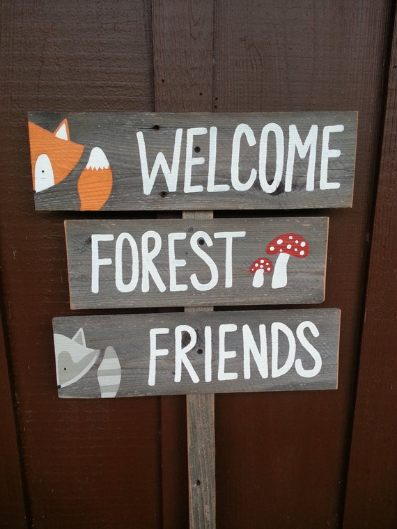 Welcome Forest Friends Sign Baby Shower Signs Forest Animals