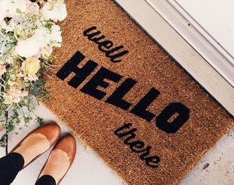 """Well Hello There Doormat Rug- Measures 18"""" x 30"""" welcome outdoor mat."""