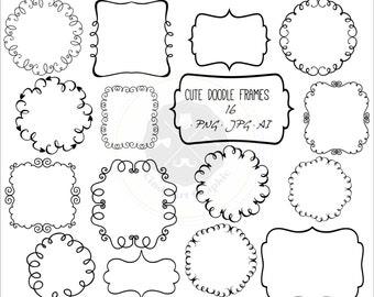 Cute Doodle Frames Clipart,frame clipart,doodle borders clipart,digital borders,digital download