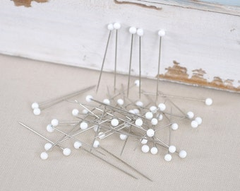 200 piece 32mm long with white glass head pins