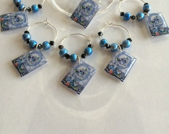 Blue Floral Teacup Wine Glass Charms - Set of 6