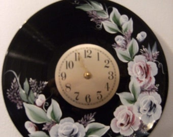 Hand painted record clock