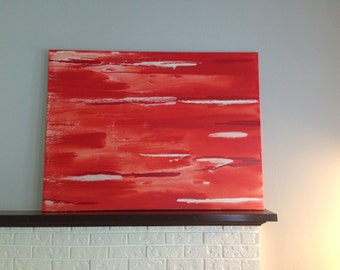 Red Abstract Painting 36x48