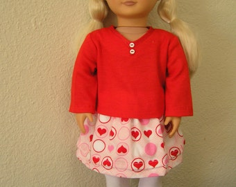 "OOAK ""Sweet Hearts"" Skirt Set for American Girl and 18 inch Dolls - includes Leggings and T-shirt - for Back-to-School, Party or Valentine's"