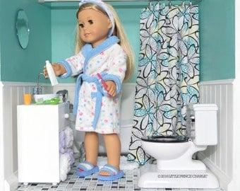 American Girl Doll Modular Dollhouse Complete Bathroom with Vanity Bathtub Shower Curtain Toilet