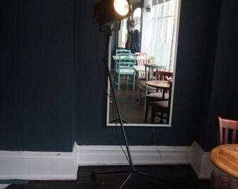 Tripod mounted vintage stage light spotlight up-cycled