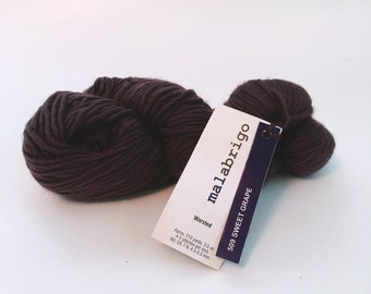 Merino Worsted by Malabrigo Yarn, 509 Sweet Grape, Heavy Worsted Yarn