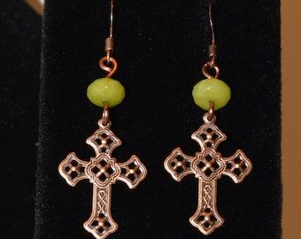 Peridot Copper Cross Earrings