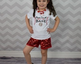 Baseball cause Im All about that Base sequin short set size 12 months, 2T, 3T, 4T, 5T, 6, 7, 8, 9