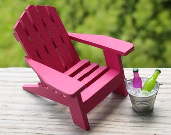 1 Miniature Adirondack Chair, Miniature Beach Chair, Tin Bucket Ice U0026 Soda,  Fairy