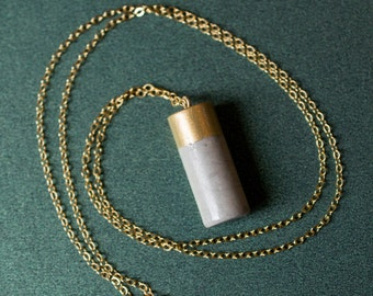 Gold-Painted Cement Cylinder Pendant Necklace