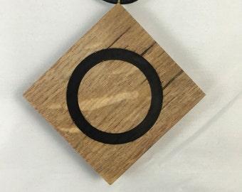 Black Circle in Oak Square