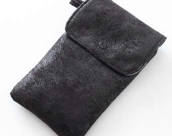 Great case for smartphone in light grey faux leather black furnishings and Liberty Mitsi