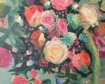 """Flowers on Green V 40""""x30"""""""