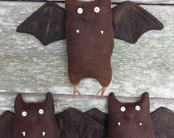 Primitive Halloween Bat,Halloween Bat Bowl Filler, Rustic Bat Knob Hanger,Halloween Bat Shelf Tuck, Halloween Bat Ornie, Bat Cupboard Doll