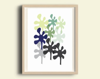 Graphic leaf print, leaf art print, tropical prints, instant download, botanical print, printable art, kitchen wall art, green blue Print