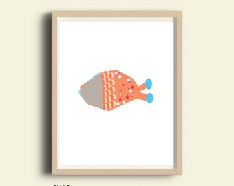 Fish print, fish art, printable fish, nautical decor, nautical prints, illustration print, fish wall art, kids room decor,gold fish drawing