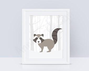 Raccoon PRINTABLE nursery wall art, Woodland nursery wall art, Woodland animals print, Baby art prints, INSTANT DOWNLOAD