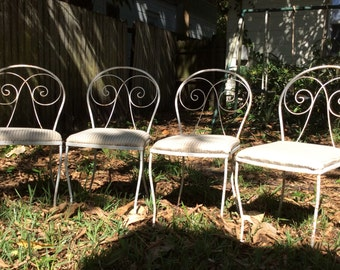 4 Rustic Cast Iron Outdoor Chairs